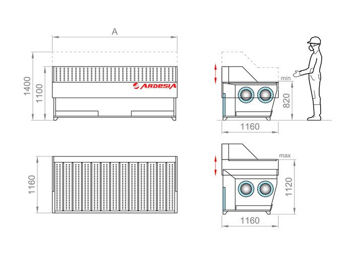 Technical scheme Dust Table Lift by Ardesia